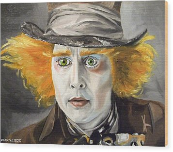 Johnny Depp - The Mad Hatter Wood Print by Ina Schulz