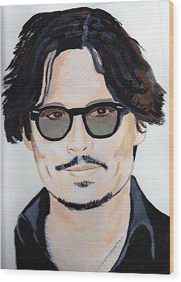 Johnny Depp 4 Wood Print by Audrey Pollitt