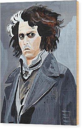 Johnny Depp 6 Wood Print by Audrey Pollitt