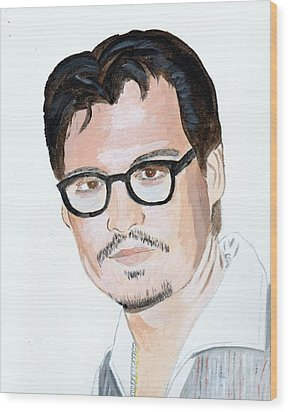 Wood Print featuring the painting Johnny Depp 7 by Audrey Pollitt