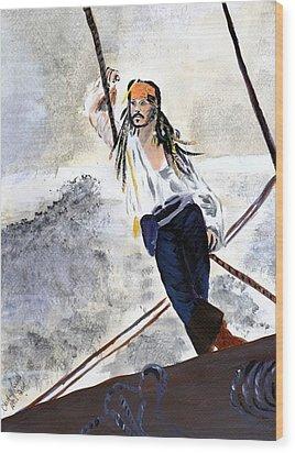 Johnny Depp 8 Wood Print by Audrey Pollitt