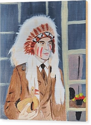Wood Print featuring the painting Johnny Depp 9 by Audrey Pollitt