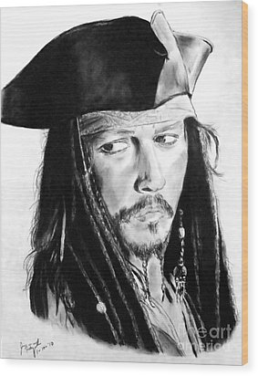 Johnny Depp As Captain Jack Sparrow In Pirates Of The Caribbean Wood Print by Jim Fitzpatrick