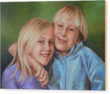 Wood Print featuring the painting Jonathan And Jessica by Nancy Tilles