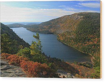 Jordan Pond In Autumn From North Bubble Acadia National Park Wood Print by John Burk
