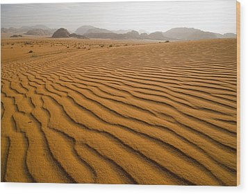 Jordan Wadi Rum Sand Dunes Pattern Wood Print by Jason Jones Travel Photography