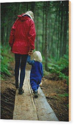Joy Tessman Walks Along Wood Print by Barry Tessman
