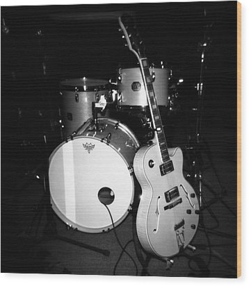 Jp Soars Guitar And Drum Kit Wood Print by Kathy Hunt