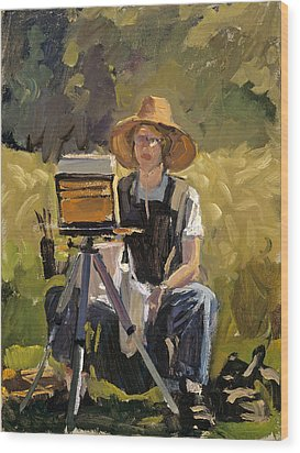 Judith At Work Wood Print by Mark Lunde