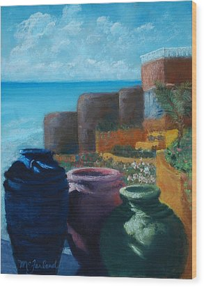 Juju Jars - Cancun Wood Print by Lorraine McFarland