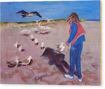 Julie On The Cape Wood Print by Elzbieta Zemaitis