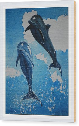 Wood Print featuring the painting Jump For Joy.......miniature by Lynn Hughes