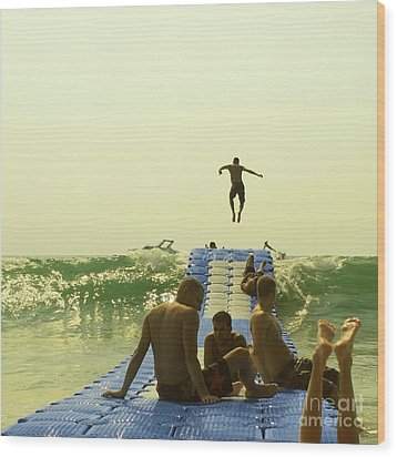 Jump Wood Print by Paul Grand
