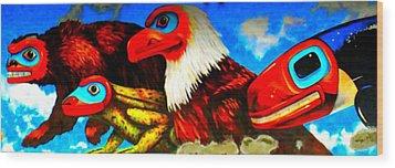 Juneau Mural 2 Wood Print by Randall Weidner
