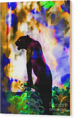 Jungle Cat On The Prowl Wood Print by Elinor Mavor