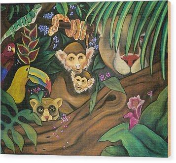 Jungle Fever Wood Print by Juliana Dube