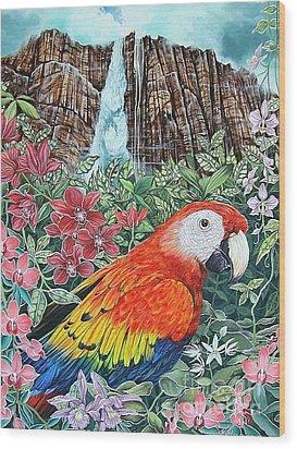 Jungle Parrot Wood Print by Kimberlee  Ketterman Edgar