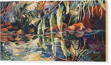 Jungle Reflections Wood Print by Rae Andrews