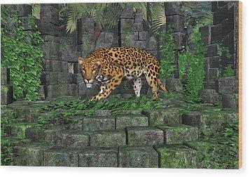 Wood Print featuring the digital art Jungle Ruins Jaguar by Walter Colvin