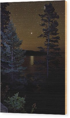 Jupiter Rising Over Otter Point Wood Print by Brent L Ander