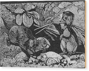 Just Cute Critters Wood Print by Robert Clement