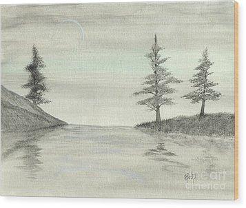 Just Under The Moon Wood Print by Robert Meszaros