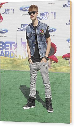 Justin Bieber At Arrivals For 2011 Bet Wood Print by Everett