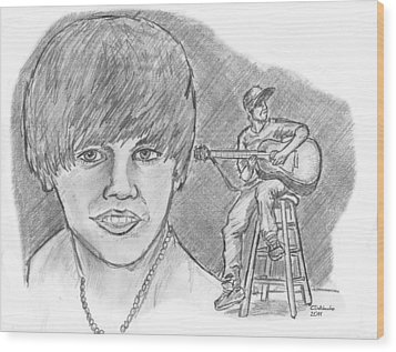 Wood Print featuring the drawing Justin Bieber- Bieber Fever by Chris  DelVecchio