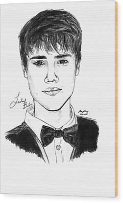 Justin Bieber Suit Drawing Wood Print by Kenal Louis