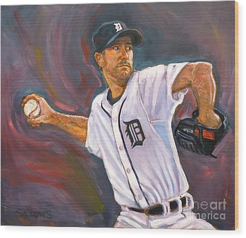 Justin Verlander Throws A Curve Wood Print by Nora Sallows