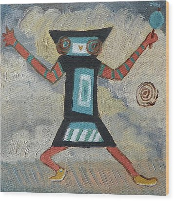 K Is For Kachina Detail From Childhood Quilt Painting Wood Print by Dawn Senior-Trask