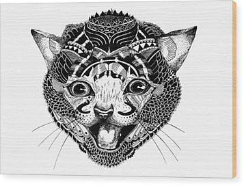 K Kat Wood Print by JF Mondello