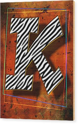 K Wood Print by Mauro Celotti