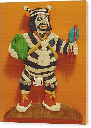 Kachina Clown  Wood Print by Russell Ellingsworth