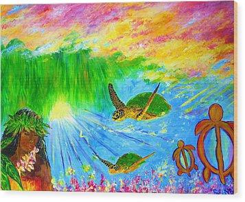 kahuna-Honu Wood Print by Tamara Tavernier