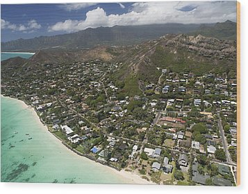 Kailua Aerial Wood Print by Peter French
