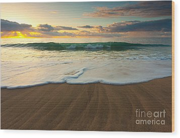 Kalalau Beach Sunset Wood Print by Buck Forester
