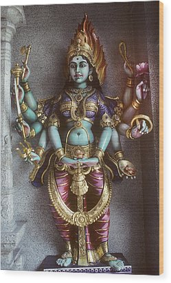 Kali Statue In Singapore Wood Print by Carl Purcell