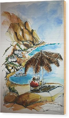 Wood Print featuring the painting Kalymnos 2 by Therese Alcorn