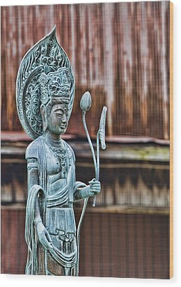 Kannon Bodhisattva Wood Print by Karen Walzer