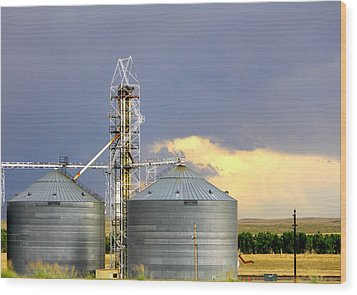 Kansas Farm Wood Print by Jeanette C Landstrom