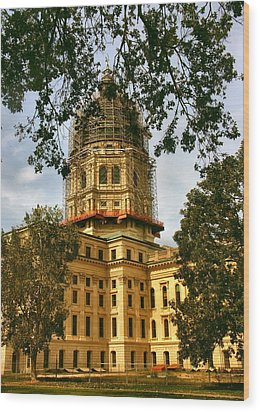 Kansas State Capitol Building Wood Print by Lynne and Don Wright