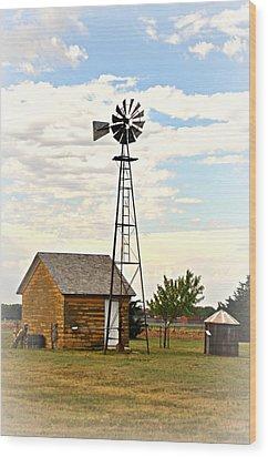 Kansas Windmill 1 Wood Print by Marty Koch