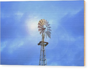 Kansas Windmill In The Sun Wood Print