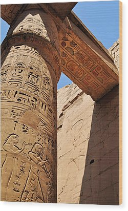 Karnak Temple Columns Wood Print by Michelle McMahon