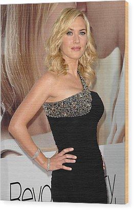 Kate Winslet Wearing A Balmain Dress Wood Print by Everett