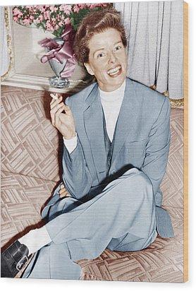 Katharine Hepburn In England, Ca. 1952 Wood Print by Everett