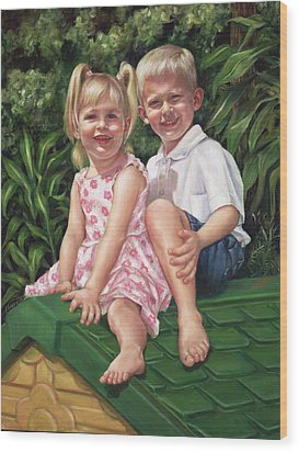 Wood Print featuring the painting Katie And Mitchell by Nancy Tilles