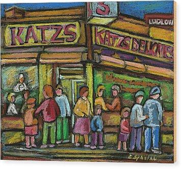 Katz's Houston Street Deli Wood Print by Carole Spandau