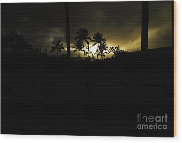 Kauai Storm Sunset Wood Print